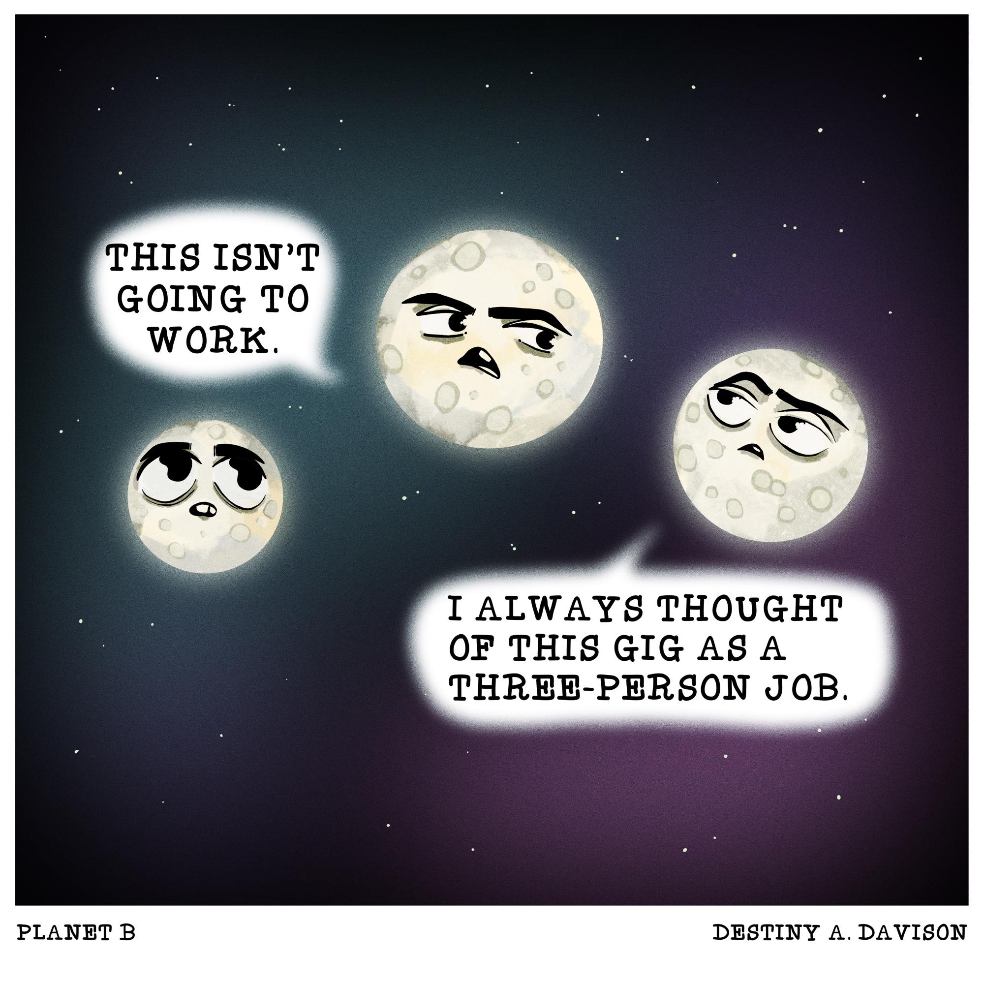 """""""3-Person Job"""" Planet By, Comic by Destiny A. Davison, 2021"""